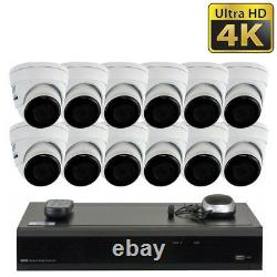 16 Channel 4K NVR (12) 8MP 2160p Home IP POE Dome Security Camera System 2TB HDD