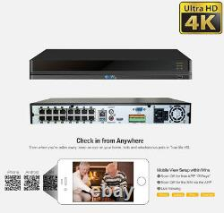 16 Channel 4K NVR 12 X 8MP PoE IP H. 265+ AI Starlight Security Camera System
