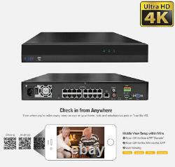 16 Channel 4K NVR (16) 8MP 2160p Home IP POE Dome Security Camera System 4TB HDD