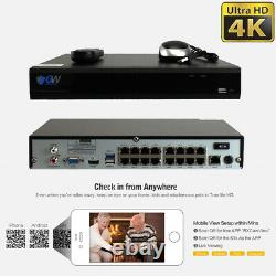 16 Channel 4K NVR (8) 8MP 2160P Waterproof PoE IP Home Security Camera System