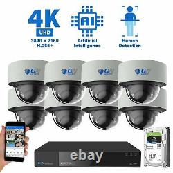 16 Channel 4K NVR 8 8MP PoE IP AI Color Night Vision Dome Security Camera System