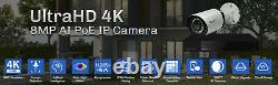 16 Channel 4K NVR 8 X 8MP PoE IP H. 265+ AI Starlight Security Camera System