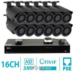 16 Channel 8MP 4K NVR 12 X 5MP 1920P PoE IP Outdoor Home Security Camera System