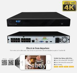 16 Channel 8MP 4K NVR 12 X 5MP 1920P PoE Microphone Security Camera System 2TB