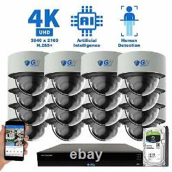 16 Channel NVR 16 4K PoE IP Color Night Vision Microphone Security Camera System