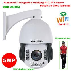 20X ZOOM 5MP Wireless Humanoid Recognition Auto Track PTZ IP Camera MIC SD Card