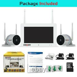 2 Way Audio 1080P Wireless Security Camera System with 7'' Monitor Night Vision