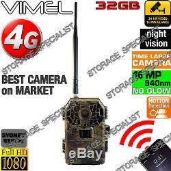 4G Trail Camera Black Flash 32GB Telstra Home Trail Security Cam Wireless IR 3G