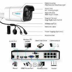 4K 8MP POE Security Camera System IP Wired 8CH NVR Kit 7x24 Recording RLK8-800B4