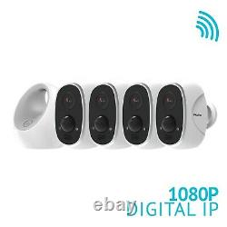 4 Security Camera System Outdoor HD 1080P Wireless Wifi IP Battery Powered Alexa