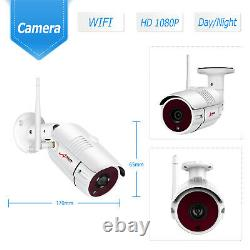 8CH 12 Monitor 1080P Wireless Security Camera System Outdoor with 1TB HDD CCTV