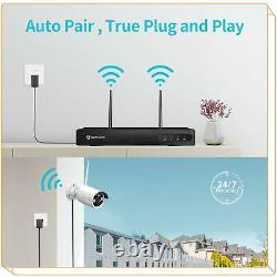 8CH NVR Wireless 1080P WiFi Audio CCTV Camera Outdoor Home Security System Kit