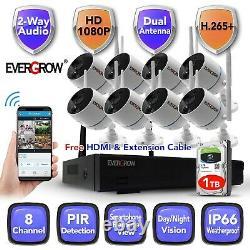 8CH two way audio Home Security Camera System Wireless Wifi Surveillance DVR
