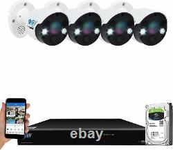 8 Channel 4K NVR 4 X 8MP Full Color 4K 2-Way Audio PoE IP Security Camera System