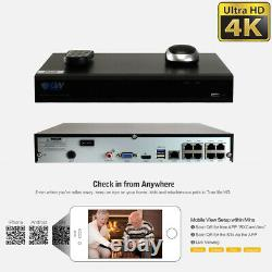 8 Channel 4K NVR 6 X 8MP Full Color 4K Microphone PoE IP Security Camera System