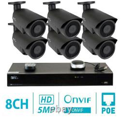 8 Channel 8MP 4K NVR 6 X 5MP 1920P PoE IP Outdoor Home Security Camera System