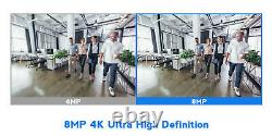 8 Channel H. 265+ DVR (4) 4K Waterproof Analog Bullet Security Camera System 2TB