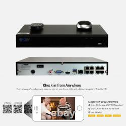 8 Channel NVR 4 x 5MP Varifocal IP PoE Security Camera System 196FT IR 4TB HDD