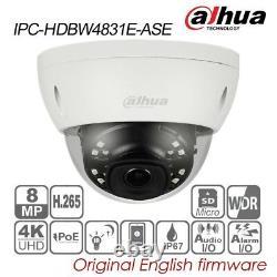 Dahua 4K 8MP IP H. 265 POE IR IP67 Audio Dome Camera TF IPC-HDBW4831E-ASE 2.8mm