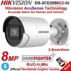 Hikvision AcuSense 4K DS-2CD2086G2-IU 8MP Darkfighter IP Camera PoE Mic 2.8/4mm