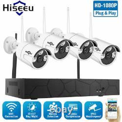 Hiseeu 4CH 1080P WIFI Wireless Security IP Camera System NVR Outdoor Home IR Cam