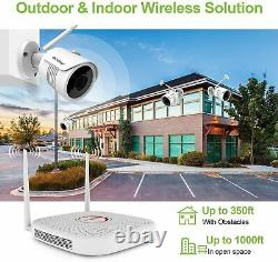 Home Wireless Security Camera System Outdoor 1080P 4 CH WIFI NVR WD 1TB HDD