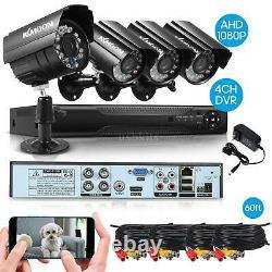 KKMOON 4CH 1080P DVR Outdoor Home CCTV Security Camera System IR Night Vision