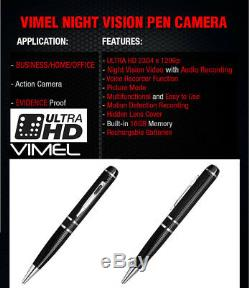 Pen Camera Pocket Wearable Ultra XHD Video 2K 1296P Home Security