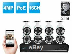 PoE Wired Security IP Camera System 4MP 16CH NVR 3TB HDD 8x Cameras RLK16-410B8