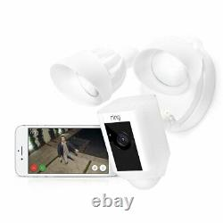 Ring Floodlight Camera Motion-Activated HD Security Cam Alarm, White, Alexa