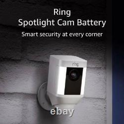 Ring Spotlight Cam Battery HD Security with Two-Way Talk & Siren & Alexa White