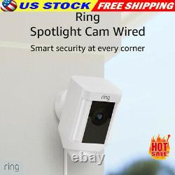 Ring Spotlight Cam Wired Outdoor Security Camera WiFi Works With Alexa White