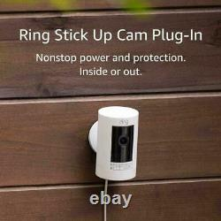 Ring Stick Up Cam Plug-in HD 1080p Security Camera -Indoor/Outdoor 3rd Gen White