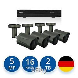 Videoüberwachung Set 5MP IP POE 4x Aussen Überwachungskamera + 2 TB Festplatte