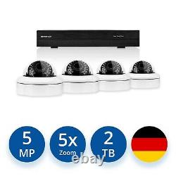 Videoüberwachung Set 5 MP IP POE 4x Dome Kameras +5x Zoom +Audio +2000 GB HDD