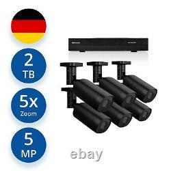 Videoüberwachung Set 5 MP IP POE 6x Aussen Kameras +5x Zoom +Audio +2000 GB HDD