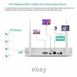 Wireless Home Office Security System WiFi CCTV NVR Outdoor IP 4 Camera Kit 1080P