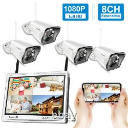 Wireless Security Camera System Outdoor Home with 12''Monitor WiFi NVR Kit