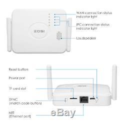 ZOSI 1080p 4CH Mini NVR 2 HD 2MP Outdoor WiFi IP Wireless Security Camera System