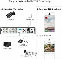 ZOSI 4K CCTV UHD DVR 2TB 8CH System Home Outdoor 8MP HD Security Camera Kit IP67
