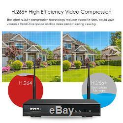 ZOSI H. 265+ 1080p Wireless Security IP Camera System 3TB Hard Drive 8CH WIFI NVR