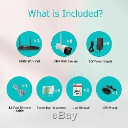 ZooHi 8CH 1080P Wireless Security Camera System With Night Vision HDMI NVR Kits