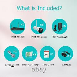 Zoohi 8CH 1080P Outdoor Wireless Security Camera System 1080P Wifi NVR Home CCTV