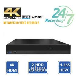 16 Channel 4k Nvr (16) 8mp 2160p Maison Ip Poe Dome Système De Caméra De Sécurité 4 To Hdd
