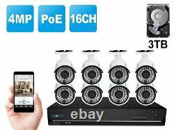16ch 1440p 4mp Système Caméras De Sécurité Ip Poe Nvr 3tb Hdd Reolink Rlk16-410b8
