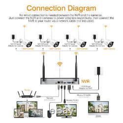 1tb, 8ch 1080p Sans Fil Nvr H. 265 Wifi Extérieure 2mp Accueil Sécurité Kit Caméra Ip