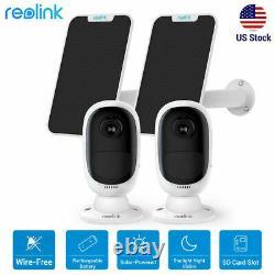 2set Reolink Wifi Caméra De Sécurité Solaire Rechargeable Argus 2+panneau Solaire
