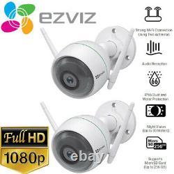 2x Ezviz 1080p Caméra Wifi Extérieure Résistant Aux Intempéries Détection Intelligente De Mouvement C3wn