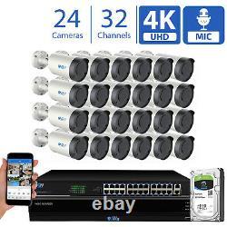 32 Channel Nvr (24) Microphone 4k Varifocal Ai Ip Bullet Système De Caméra De Sécurité