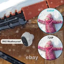 4 Système De Caméra De Sécurité Extérieure Hd 1080p Sans Fil Wifi Ip Alimenté Par Batterie Alexa
